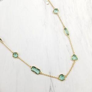 Kate Spade Gold Tone Green Open Bezel Necklace
